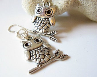 Silver Toned Owls on a Branch Earrings, Dangly Owl Earrings, Owl Jewelry, Owl Charms