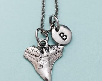 Shark tooth necklace, shark tooth charm, shark necklace, personalized necklace, initial necklace, initial charm, monogram