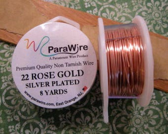 Silver Plated Rose Gold - 22 Gauge Wire from ParaWire - 8 yard Spool