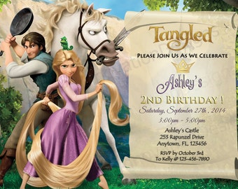 Disney's Tangled Rapunzel Invitation - Tangled Party Invites - 5x7 or 4x6 Custom Personalized Digital File Princess Rapunzel
