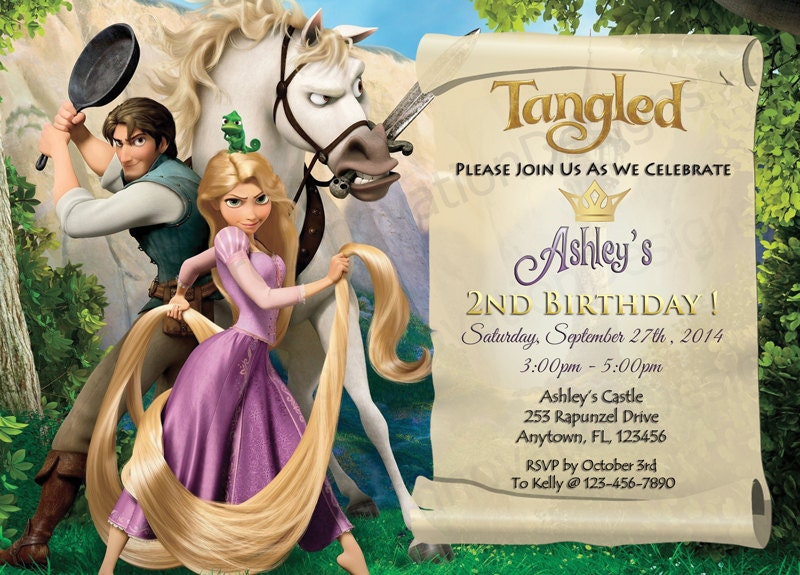 Disneys Tangled Rapunzel Invitation Tangled Party