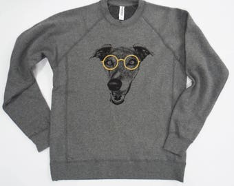 Sophisticated Hound with Gold Glasses, Unisex Charcoal Sweatshirt (Shirts for Greyhound Lovers, Sighthounds)