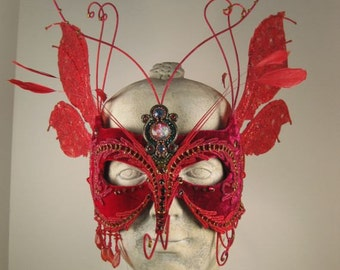 Red Faerie Masquerade Mask