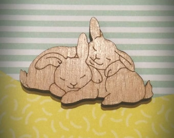 Sleeping cuddling bunny rabbit lasercut wood brooch