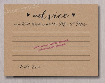 Wedding Day Advice for the Mr and Mrs Card Instant Download DIY Do It Yourself Printable Digital File pdf Bride and Groom Newlyweds 2 files