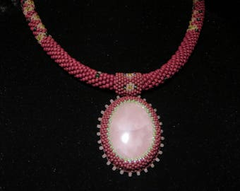 Necklace Crocheted Beaded EarthMother with Rose Quartz Pendant