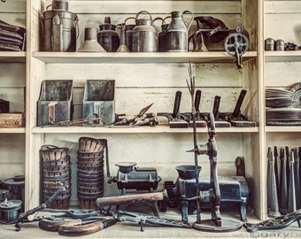 Stuff for Sale, on the shelves of the Old General Store, a 19th Century Variety store, Antiques, vintage Items, Fine Art Photography Print