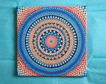 "Hand painted blue and peach mandala on canvas 10"" x 10"" dot pointillism art"
