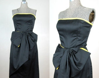 Vintage 1980s Sexy Black Strapless Cocktail Dress with Giant Bow 80s does 50s Dress by Victor Costa Size 6 Medium