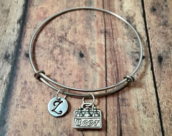 Beer six pack initial bangle - beer jewelry, beverage jewelry, beer bracelet, six pack bangle, 21st birthday jewelry, beverage bangle
