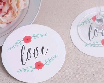 2017 New Love Red Rose Coasters For Wedding/Party Table Decoration
