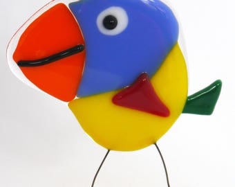 Fused glass bird, glass bird decoration, colourful decoration