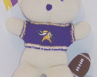 Bear, Minnesota Vikings Bear, Baby Boy Bear, Baby Shower Gift, Birthday Gift, Keepsake Bear, Souvenir Bear, Father's Day