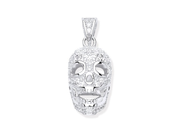 Sterling Silver & Micro Pave Cz Encrusted Skull Pendant