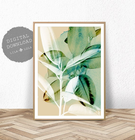 Abstract Botanical Print, Watercolour Wall Art, Tropical Leaf Decor, Rubber Tree Plant, Printable Download, Large Poster, Ficus Elastica