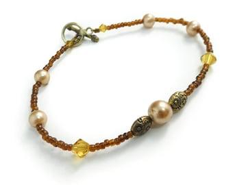 Vintage Brown Bead Bracelet, Toggle Clasp, STN53