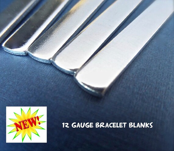 """18 Blanks 12G 1/4"""" x 7"""" Tumbled Polished Cuffs - Very Thick Pure 1100 Aluminum Bracelet 12 Gauge - Flat - Made in USA"""