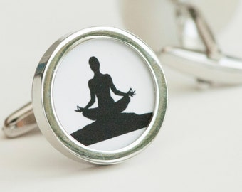 Yoga Cufflinks - Meditation cufflinks, Men's Cufflinks,  Husband, Wedding gift, Novelty cufflinks for him, Yoga