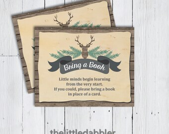 Printable Bring a Book Instead of a Card Deer Baby Shower Invitation Insert -- Rustic Country Deer Head Hunting Wood Baby Shower -- PDF