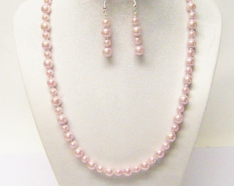 6/8mm Soft Pink Glass Pearl Necklace & Earrings Set