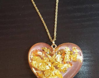 Resin Pink Gold Heart Fairy Kei Pastel Goth Gold Chain Necklace