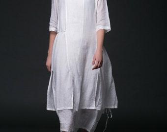 Linen Dress, plus size dress, white dress, woman dress, plus size clothing, maxi dress, white dress long, wrap linen dress, long dress  C399