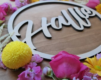 Name Signs. Name hoops. - Customised timber laser cut hoops -Large