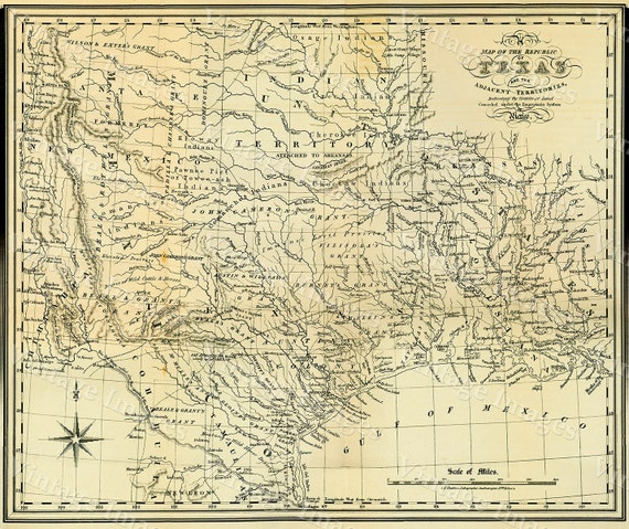 """Texas wall Map 1841 Republic of Texas map, Texas state Historical map, Antique Restoration decorator Style  up to 42"""" x 53"""" Texas Art Print"""