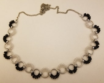 Aluminum and rubber chainmail necklace, silver black and translucent white
