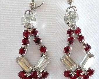 Vintage Crystal Clear and Red Rhinestones Pierced Earrings