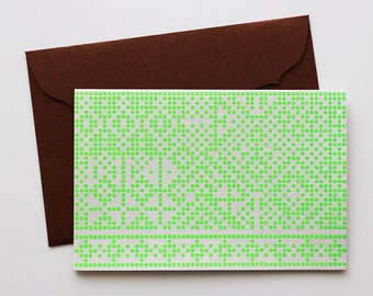 mosaic tile / Handmade Screen Printed Greeting Card
