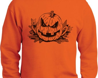 Scary Pumpkin Halloween Men's Crewneck Sweatshirt