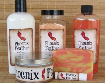 Phoenix Feather XL Gift Set - Lip Balm, Soap, Salt, Bubble Bath, Lotion and Candle - Bookish, Fandom