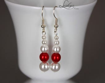 Bridal earrings red and white off