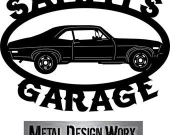 "Metal cut Chevrolet Chevy NOVA Classic Nova Classic Car Sign Custom Personalized Man Cave Garage Sign 22""x16"" metal design worx works"