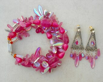 3-Strand Fuchsia Bracelet & Earring Set, All Vintage Czech Glass Beads, Wear Twisted or Loose, Gorgeous Earrings, by SandraDesigns