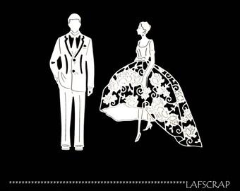 Scrapbooking scrap marriage married wedding dress Princess cuts cutting paper die cut creation