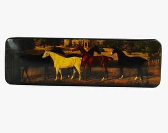 Vintage Lacquered Papier Mache Box - Equine Theme