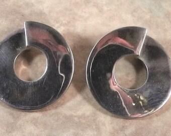 """1980s retro style earrings ,925 sterling silver earrings, solid,twist earrings, 1.4"""" new wave earrings, minimalistic, design earrings"""