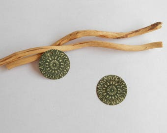 X 2 sequins charms olive green and ivory