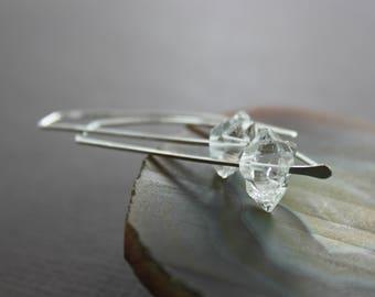 Threader herkimer diamond sterling silver earrings with AAA quality quartz stones - Modern earrings - Diamond earrings - ER133