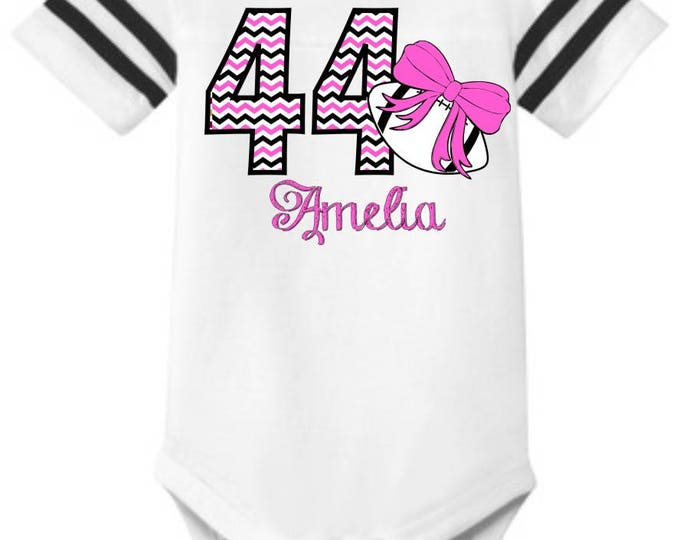 """Personalized Baby Girl's Football STRIPED SLEEVE Onesie One-piece body suit with """"Chevron"""" Number, Name, and Print Color of your choice"""