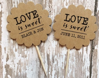 Love is Sweet Cupcake Topper / Toothpick (12 count)