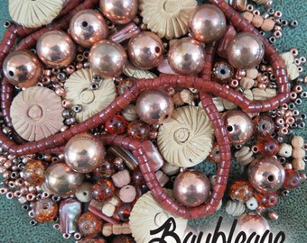 Bead Lot, Copper and Clay, OOAK Bead Blend, Terra Cotta, Copper Beads, Salvaged Beads
