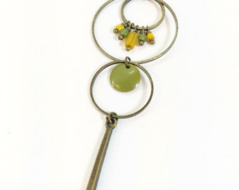 "Necklace long necklace ""Senjä"" mustard yellow and khaki ethnic-inspired with enameled sequin and circles"