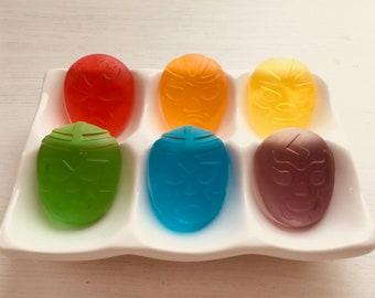 Set of 6 Luchador (Mexican wrestler) Soaps - Transparent Rainbow
