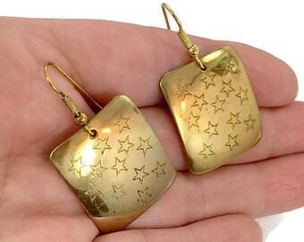 Star Earrings, Brass Earrings, Vintage Earrings, Pierced Dangle, Celestial, Big Statement, Modern, Contemporary,  Long, InVintageHeaven