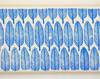 Reclaimed Repurposed Wood-Upcycled hand stamped wall art-ready to hang- Blue Feathers