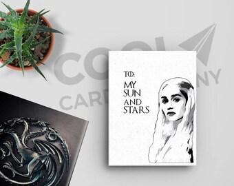 Daenerys Targaryen, Game of Thrones Card, Anniversary Card, Birthday Card for Him, Game of Thrones Valentines Day Card, by CoolCardCompany