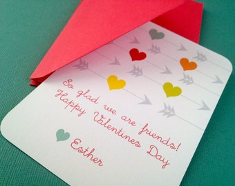 Hearts and Arrows- personalized valentine cards, PDF file, valentines day card, school valentines, love, friends
